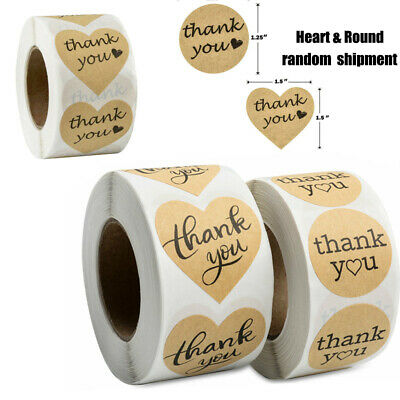 Heart - Round Thank you Stickers 1000 Kraft Paper DIY Gift Cake Envelope Sealing