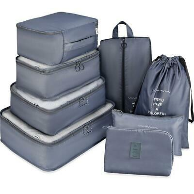 7 Set Luggage Organizer Packing Cubes For Travel Compression Cells Grey