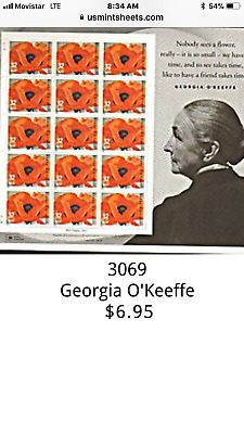 3069 Georgia OKeeffe Red Poppy- Sheet of 15-32 cent US postage stamps-