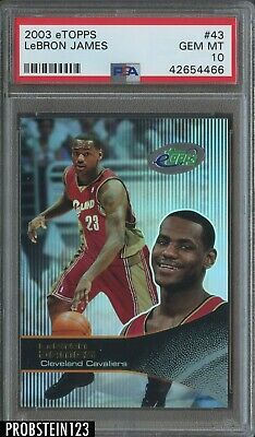 2003-04 ETopps 43 LeBron James Cavaliers RC Rookie PSA 10 GEM MINT
