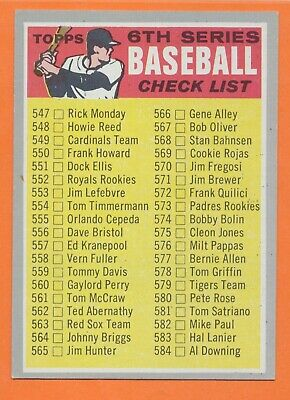 1970 Topps Checklist 6 Six  Card Number 542 Near Mint to Mint UNMARKED