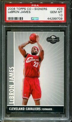 2008 TOPPS CO-SIGNERS 23 LeBRON JAMES CAVALIERS POP 1 PSA 10 K2733710-709