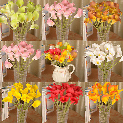 Calla Lily Artificial Bouquet Fake Silk Flowers Wedding Home Party Decoration