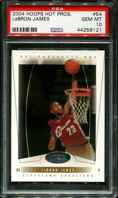 2004 HOOPS HOT PROSPECTS 54 LeBRON JAMES CAVALIERS PSA 10 K2737268-121