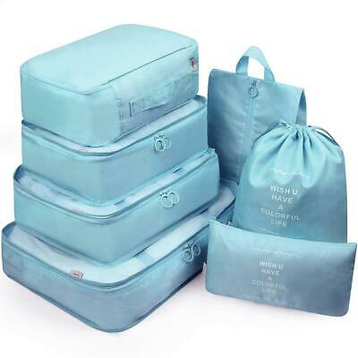 6 Set Luggage Organizer Packing Cubes For Travel Compression Cells Lake Blue