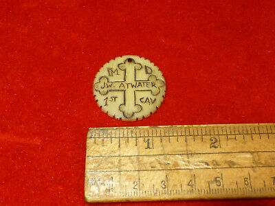 RARE ENGRAVED STEER HORN TOKEN DOG TAG W CONFEDERATE USED MARYLAND CROSS SYMBOL