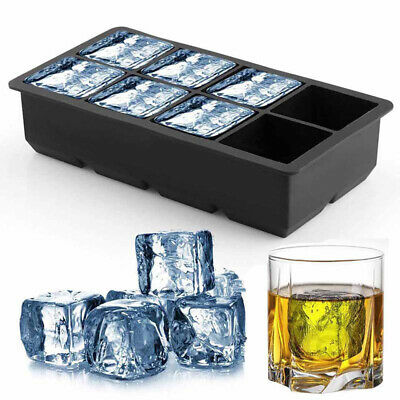 8 Grids Ice Cube Tray Extra Large Square Jumbo Ice Cube Moulds With Lid Whiskey