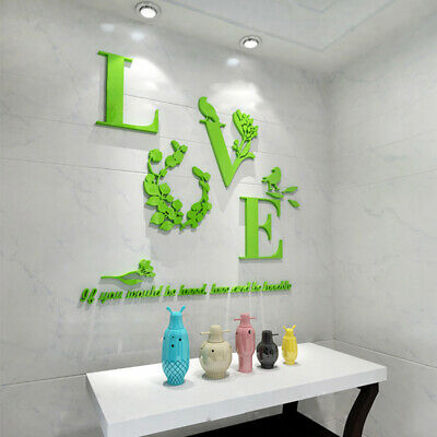 3D Mirror Love Wall Stickers Quote Flower Acrylic Decal Home DIY Art Decoration