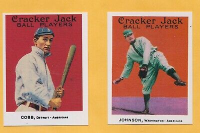 60 1914 Cracker Jack Repro Cards Includes Ty Cobb Walter Johnson Mickey Mantle
