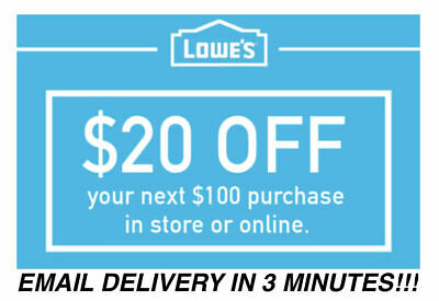 ONE Lowes 20 OFF 100 Coupons Discount - In storeonline -    10-SECOND SHIP