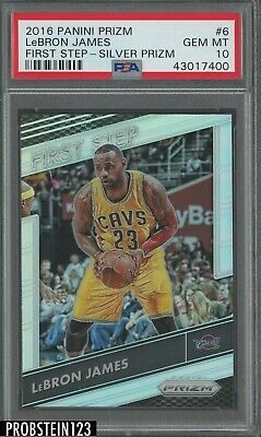 2016-17 Panini Prizm Silver First Step LeBron James Cleveland Cavaliers PSA 10