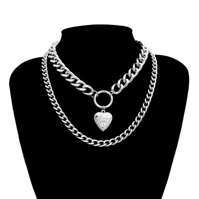 Charm Chunky Necklace Heart-shaped Double Layer Collar Choker Chain Jewelry Gift