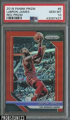 2018-19 Panini Prizm Red 6 LeBron James Los Angeles Lakers 001299 PSA 10