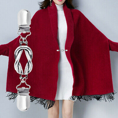 Women Cardigan Blouse Shawl Clips Shirt Collar Rope Loop Duck Clip Clasps Keeper