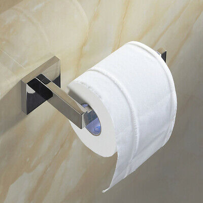 Chrome Stainless Steel Bathroom Toilet Roll Paper Holder Hook Wall Mounted