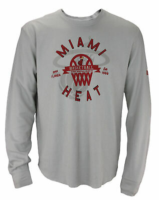 Adidas NBA Basketball Mens Miami Heat Long Sleeve Thermal Shirt Grey
