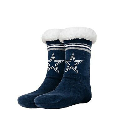 Dallas Cowboys Womens Stripe Logo Tall Footy Slippers - Size 6-10 NEW Non Skid