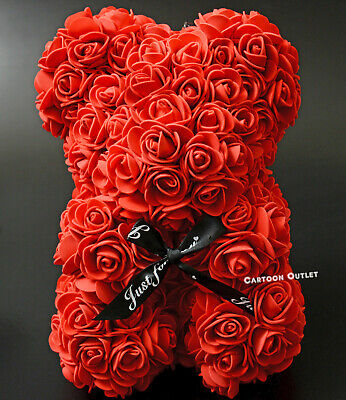 GIFTS RED ROSE BEAR 9 INCH BIRTHDAY MOTHERS DAY ARTIFICIAL ROSE FLOWER ROMANTIC