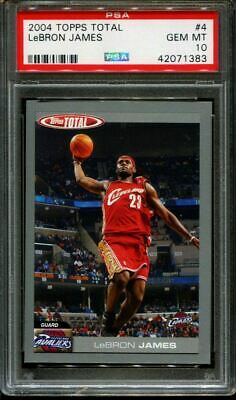 2004 TOPPS TOTAL 4 LeBRON JAMES CAVALIERS PSA 10 K2630720-383