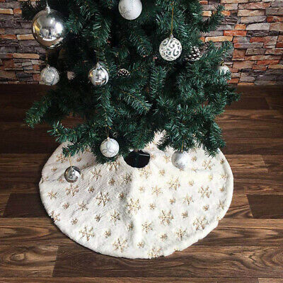 Flannel Christmas Tree Skirt Base Floor Mat Cover Apron Home Xmas Party Ornament