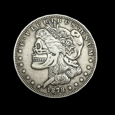 Commemorative Coin 1878 American Morgan Skeleton Silver Dollar Shape Skull New