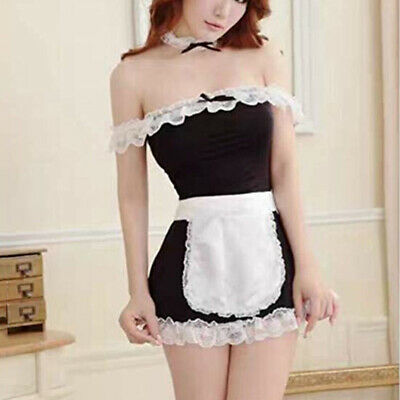 Womens Sexy Lingerie Maid Lace Babydoll Roleplay Costume Outfit Fancy Dress