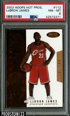 2003-04 NBA Hoops Hot Prospects LeBron James Cavaliers RC Rookie 6891000 PSA 8