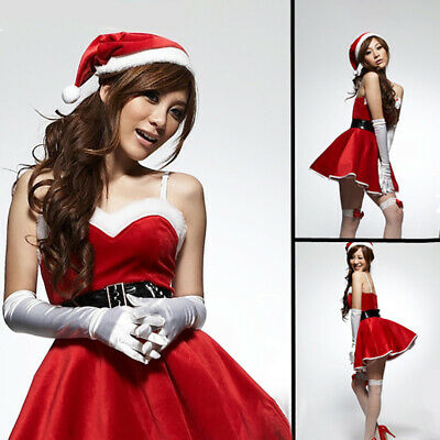 Sexy Women Christmas Santa Claus Costume Cosplay Velvet Outfit Set Fancy Dresses