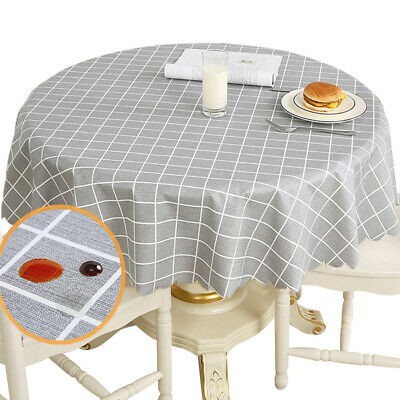 Home Table Cloth Grids Lattice Waterproof Round Tablecloth Oil-Proof Waterproof