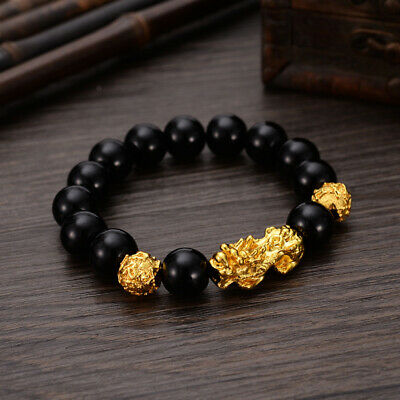 Feng Shui Black Obsidian Alloy Wealth Bracelet Golden Pixiu Lucky Energy Beaded
