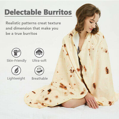 Bedding Outlet Mexican Burrito 6071 Blanket 3D Corn Tortilla Flannel Blanket