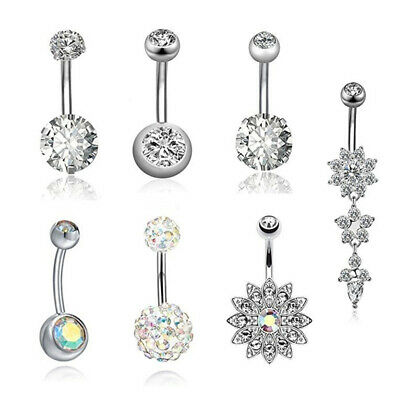 7PcsSet Stainless Steel Crystal Belly Button Rings Navel Body Jewelry Fashion