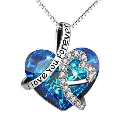 Crystal Infinity Love Heart Necklace Pendant Jewelry For Wife Women Mom Mother