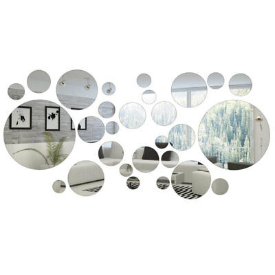 32PcsSet Round Circle Mirror Art Wall Sticker Decal Living Room Bedroom Decor