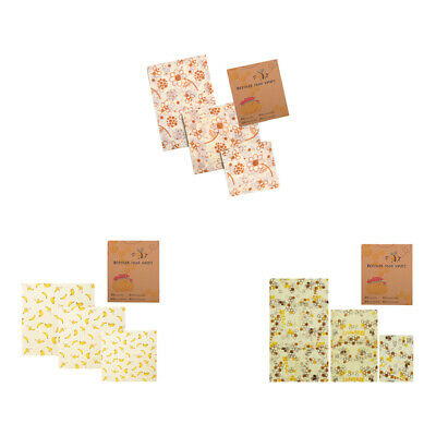 Beeswax Reusable Food Wrap Cling Film Sustainable Hygenic Bee Wax Food 3 PCS