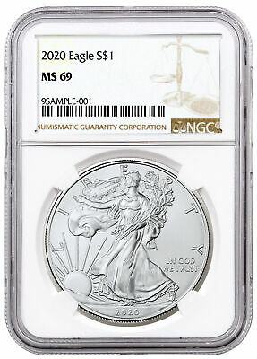 2020 1 oz American Silver Eagle 1 Coin NGC MS69 Brown Label SKU59444