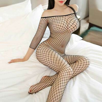 Women Fishnet Body Stockings Bodysuit Babydoll Sleepwear Sexy Lingerie Underwear