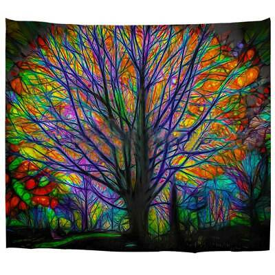 Psychedelic Forest with Birds Wall Tapestry Bohemian Mandala Hanging Blankets