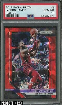 2016-19 Prizm Lebron James LAKERS Red Ice Refractor 6 PSA 10 Gem Mint