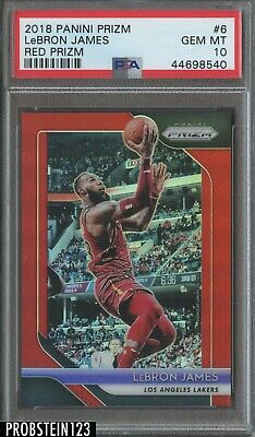 2018-19 Panini Prizm Red 6 LeBron James Los Angeles Lakers 266299 PSA 10