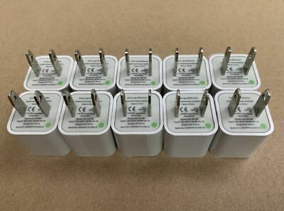 10 units-Wall Charger 5V 1A USB 10-Pack Port Plug Cube For Apple iPhone 678X