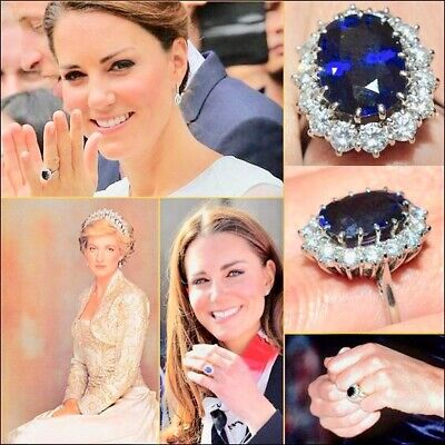 Princess DianaKate Middleton Blue Sapphire Ring Replica Engagement Ring wbox