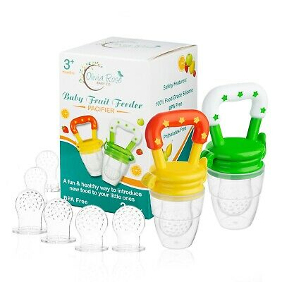 Baby Fruit Feeder Pacifier 2 Pack  Infant Silicone Teething Toy  Fresh Food