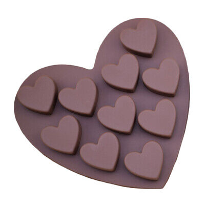 10 Hole Silicone Love Heart Pudding Bakeware Mould Cake Chocolate Ice Maker Mold