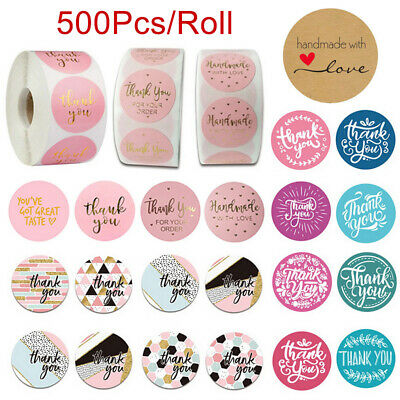 500PcsRoll Handmade Thank You Stickers Wedding Birthday Party Flowers Labels