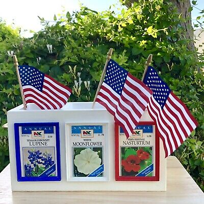 Fourth Of July Patriotic Seed Packet  Centerpiece Vase Flag Memorial Day USA