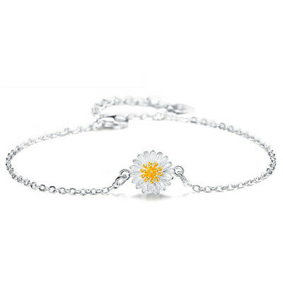 Fashion Lady Daisies Sunflower Silver Alloy Bracelet Anklet Women Jewelry Gifts