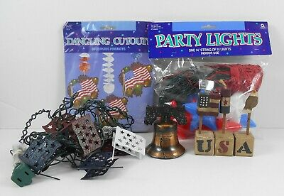 Fourth of July Decorations – Flag - Star Lights Cut-Outs Bell Blocks 5 Piece