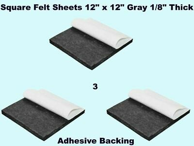 SQUARE FELT SHEETS 3 pack 12 x 12 Gray 18 Thick Peel Adhesive Back Pad