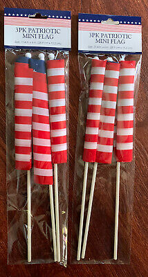 2 Pack Fourth of July Patriotic Decorations Flags 11-4x6 Ea ⭐️Total of 6🇺🇸